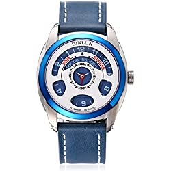 BINLUN Men's Unique Cool Watch Automatic Mechanic Blue Leather Strap Watches