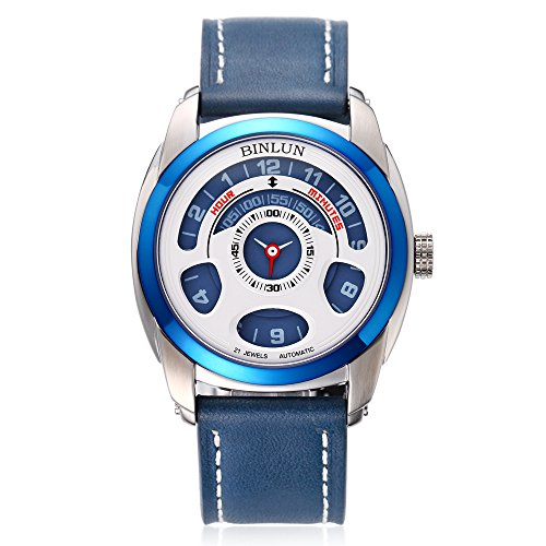 Binlun Men's Blue Japanese 21-Jewel Automatic Mechanic Unique Futuristic Design Leather Strap - 21 Jewel Automatic