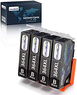 OfficeWorld Cartuchos de tinta para HP 364 364XL, HP Photosmart 5510 5520 5522 6520 B8550 C5388, HP Officejet 4620, HP Deskjet 3070A 4 Negro
