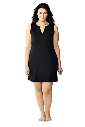 8f6cc644934 Lands' End Women's Plus Size Cotton Jersey Sleeveless Tunic Dress Swim Cover -up at Amazon Women's Clothing store: