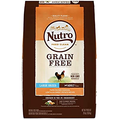 NUTRO Grain Free Adult Regular & Large Breed Dry Dog Food, Chicken