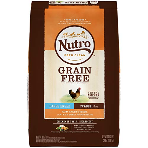NUTRO GRAIN FREE Natural Adult Large Breed Dry Dog Food Farm-Raised Chicken, Lentils and Sweet...