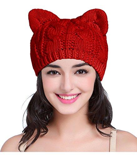V28 Women Men Girls Boys Teens Cute Cat Ear Knit Cable Xmas Hat Cap Beanie Kitten Red Medium (Teenagers Christmas Men)
