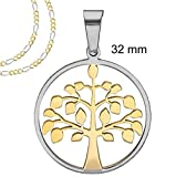 "Two tone Gold and Silver Round Tree of Life pendant with Frame Necklace - 32 MM = 1.3 Inches Stainless Steel + 18"" or 20"" Two Tone Figaro Chain"