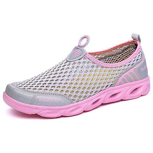 Shoes Sea Women's Walking Sneaker On Socks Swimming Mesh VILOCY Aqua Sports Pool Toggle Water Men's Breathable Trainer Slip Surf Pink Gray Dry Quick Beach 1xw005PFq