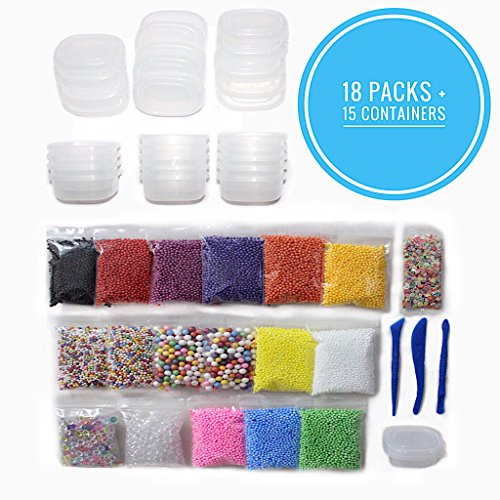 36 DIY Jumbo Set Slime Foam Beads And Slime Supplies Kits For Girls Or Kids, 15 Packs Cheap Styrofoam Big And Small Slime Beads, 2 Packs Glitter Fishbowl Beads, 3 Slime Or Clay Tools For Slime Making (Making Marshmallow Kit)