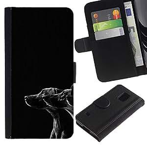 EuroCase - Samsung Galaxy S5 V SM-G900 - black white dogs puppies mutt mongrel - Cuero PU Delgado caso cubierta Shell Armor Funda Case Cover