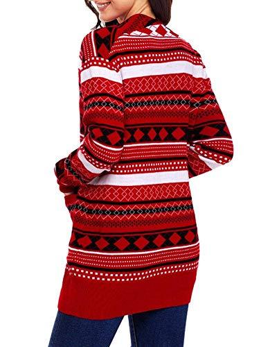 Di Maglia Casual Confortevole Donne Tasche Autunno Primaverile Stampato Fashion Lunga Manica Moda Classiche Donna Cardigan Cappotto Con Giaccone Eleganti Outerwear Giacca Rot A qxPn1EvO