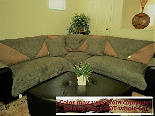 OctoRose Quilted Micro Suede Sage Green Sectional Sofa Cover Pad Sold by Piece rather than Set (SageGreen 35x94