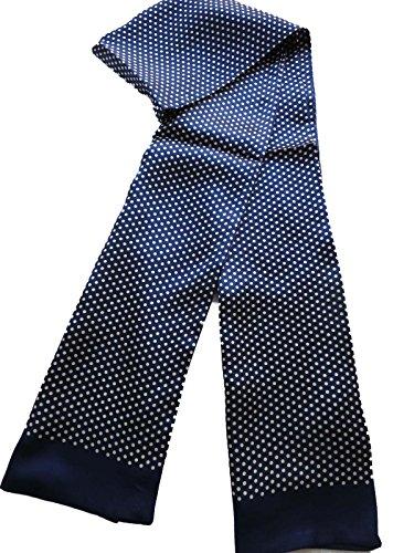 - 100% Silk Double Layer Men Scarf Neckerchief (Dot blue)