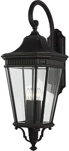 Feiss OL5405BK Cotswold Lane Outdoor Patio Lighting Wall Lantern, Black, 4-Light 14 W x 36 H 240watts