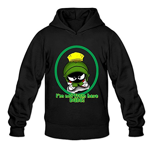 [AK79 Men's Hooded Sweatshirt Marvin The Martian Size M Black] (Looney Tunes Martian Costume)