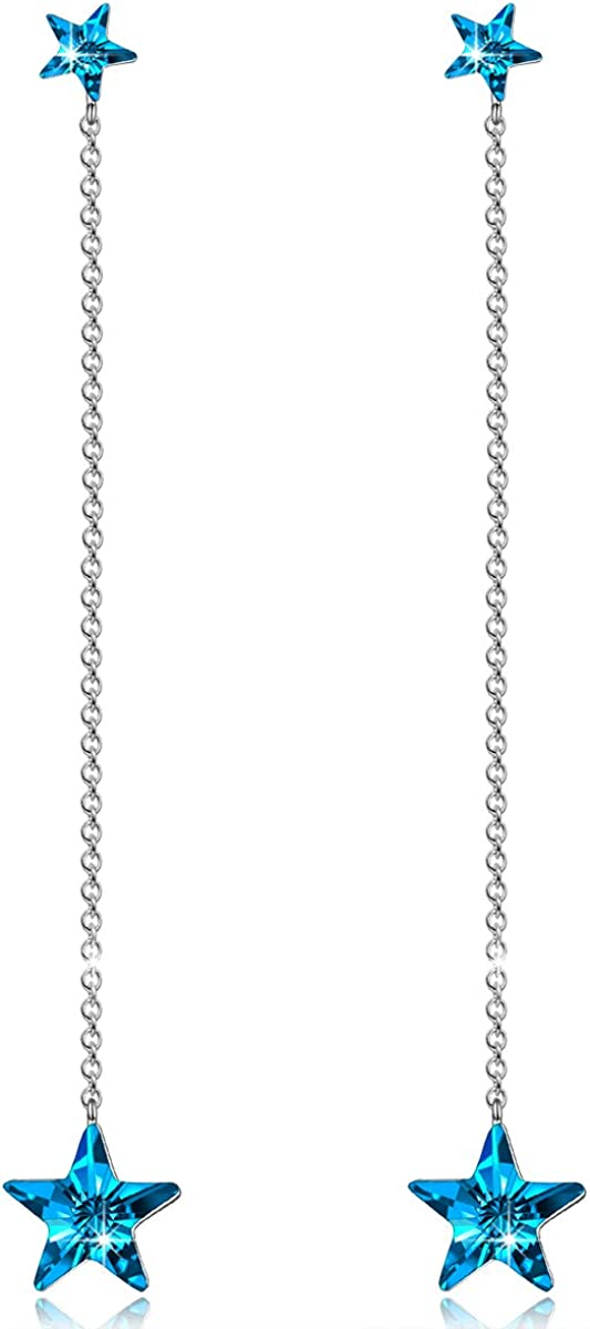 Alex Perry Regalo para Ella, Estrella Centellante Plata de ley 925 Pendientes Aretes Mujeres Azul Cristales Swarovski Mujer, Caja de Regalo Elegante, Joyería para Ella