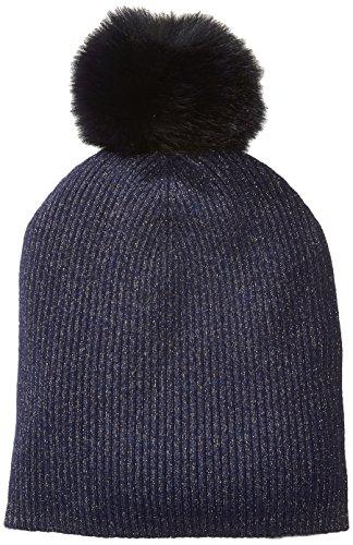 Sofia Cashmere Women's Cashmere Fur Pom Hat-Slouchy, Navy + Gold Lurex/Navy, One by Sofia Cashmere