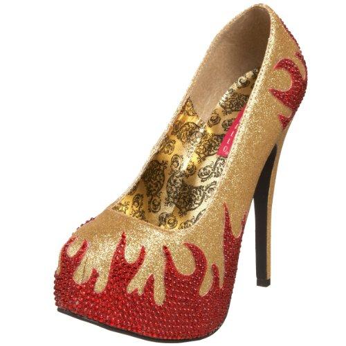 Pleaser Women's Teeze-27 Platform Pump,Gold Mini Glitter/Red Rhinestones,10 M
