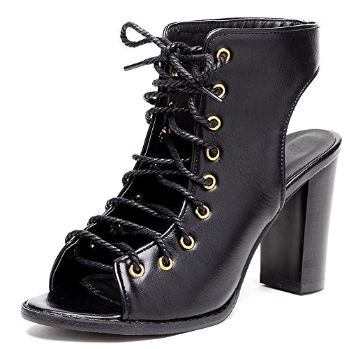 Odema Women's Lace Up Chunky Heel Peep Toe Ankle Booties Sandals