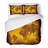 Emvency 3 Piece Duvet Cover Set Brushed Microfiber Fabric Breathable Yellow Africa Grunge Map of The World Australia Abstract Aged America Ancient Bedding Set with 2 Pillow Covers Full/Queen Size