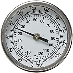 PIC Gauge B3B6-II Stainless Steel Bimetal Thermometer with Back Connection, 3\