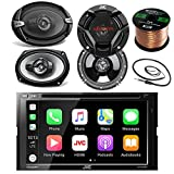 JVC KWV420BT 7' Touch Screen Car CD/DVD Bluetooth Receiver Bundle Combo With 2x Dual 6.5' 2-Way And 2x 6x9' Inch 4-Way Audio Coaxial Speakers + Enrock 22' AM/FM Antenna + 50 Foot 16 Guage Speaker Wire
