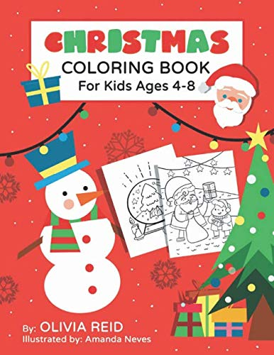 Christmas Coloring Book for Kids Ages 4-8: Fun and Learning Coloring Pages for Preschool, Kindergarten, and School-Age Children with Beautiful ... Designs (Large Print Activity Books for Kids) (Christmas Pages Wreath Coloring)
