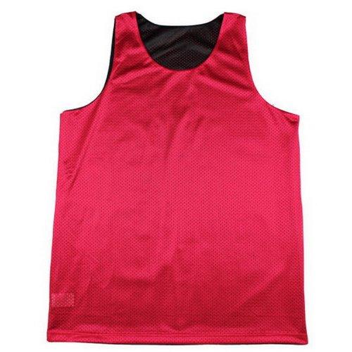 TOPTIE Men's Tank Top, Reversible Mesh Tank, Basketball Jerseys, Lacrosse Jersey-Black/red-M
