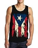 SpiritForged Apparel Vintage Distressed Puerto Rico Men's Tank Top, Black Medium