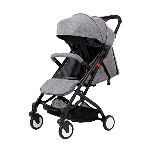 SpringBuds Baby Lightweight Foldable Travel Stroller for Airplane Toddler Pushchair with Sun Canopy-Grey