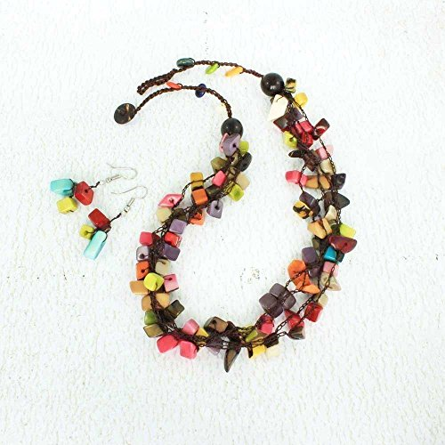 Colorful Chunky Beaded Necklace Set made of Tagua, Eco Friendly and Fair Trade Jewelry for Women by Artisans in the Andes