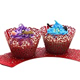 UNIQLED Filigree Artistic Bake Cake Paper Cups Little Vine Lace Laser Cut Liner Cupcake Wrappers Baking Cup Muffin Holder Case for Wedding Birthday Party Decoration (100, Red)