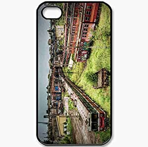 Protective Case Back Cover For iPhone 4 4S Case Built Train Metro Cars Railroad Thicket Black