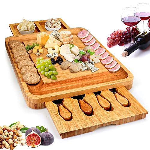 Bamboo Cheese Board, Cheese Serving Tray with Hidden Drawer & 4 Stainless Steel Cutting Knives Cracker - Cheese Plate Charcuterie Platter for Wine, Crackers, Natural Bamboo