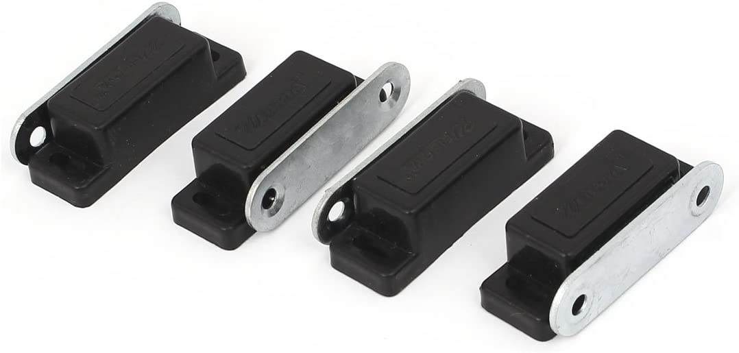 uxcell Cabinet Door Metal Plate Magnetic Catch Touch Latch Black 46mm Length 4pcs