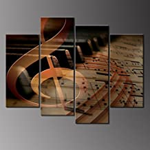 4 Panels Wall Art Musical Staff Melody Piano Music Notes Instrument Abstract Contemporary Reproduction Home Decoration Wall Art Canvas Painting Picture Prints with Wood Frame by uLinked Art