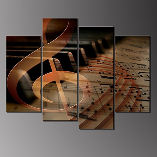 - 4 Panels Wall Art Musical Staff Melody Piano Music Notes Instrument Abstract Contemporary Reproduction Home Decoration Wall Art Canvas Painting Picture Prints with Wood Frame by uLinked Art