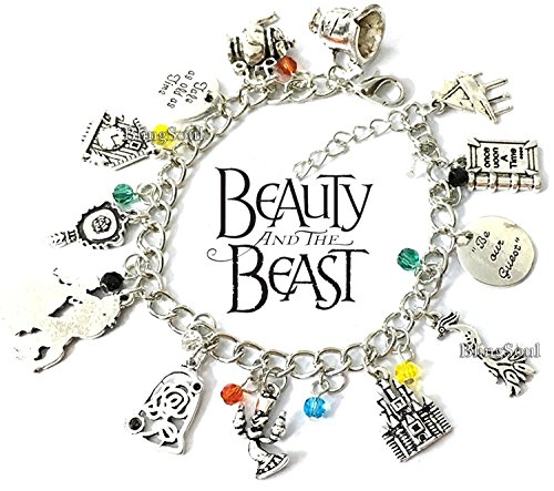 Beauty and the Beast Charm Bracelet - Belle Emma Watson Disney costume Jewelry Merchandise Gifts for Girls -