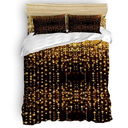 Family Decor King 4 Piece Bedding Duvet Cover Sets Bedspread with 2 Decorative Pillow Shams, Hotel Quality Lightweight Luxury Warm Microfiber, Gold Shiny Halo
