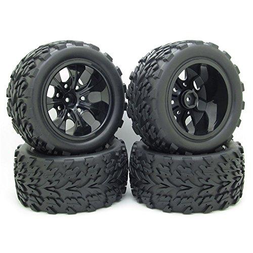 4 Pcs RC 1/10 Monster Truck Bigfoot Tyre 7 SpokesTires Leaf Pattern 12mm HEX Wheel Rim Hub for HSP