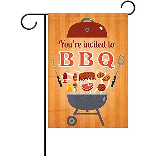 Johnnie BBQ Party Invitation Flyer Doodle Welcome Garden Flag 12 X 18 Inches, Double Sided Seasonal Outdoor Flag and Best for Party Yard Home Decor -