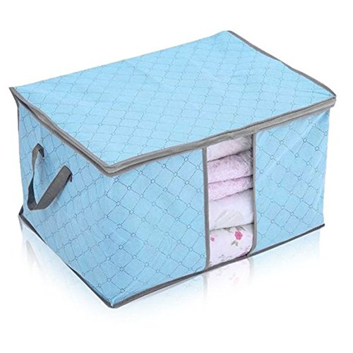 Storage Bags for Quilt,Sheets,Clothes,Blankets,Pillows,Fabric,Transparent Window Bamboo Charcoal Clothing Organizer Bags(Blue)