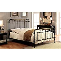Furniture of America Cecil Queen Metal Spindle Bed in Black