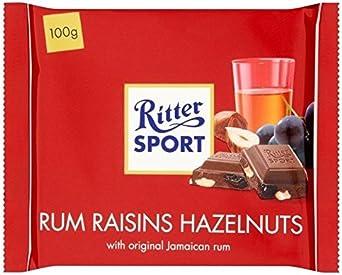 Ritter Ron Deporte, Pasas Y Avellanas 100g De Chocolate Con Leche (Paquete de 2)
