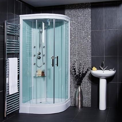 Cabina de ducha con mampara y plato + ducha de mano + válvula 900 x 900 cristal 6 mm + hidromasaje 6 chorros: Amazon.es: Bricolaje y herramientas