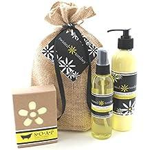 Coconut Lemongrass Body Spray Goats Milk Aloe Lotion 3-Pack Gift Set - Nourishing Moisturizing & Hydrating Goat Milk Lotion Base & Soap - Perfect For Dry Hands, Face and Body
