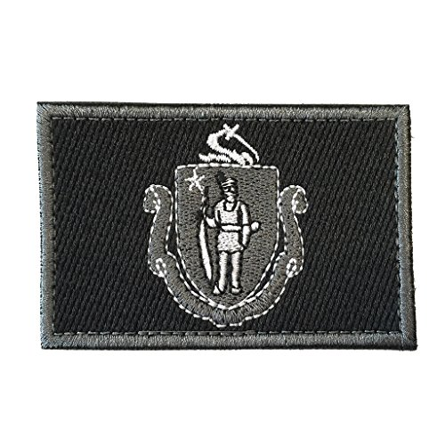 SpaceAuto Massachusetts State Flag Tactical Morale Patch Black