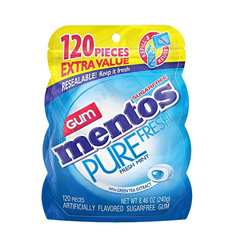 - Mentos Pure Fresh Sugar-Free Chewing Gum with Xylitol, Fresh Mint, 120 Piece Bulk Resealable Bag , 8.46 ounce
