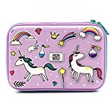 Purple Rainbow Unicorns Girls Big Hardtop Pencil Case with Compartment - Cute School Stationery Supply Organizer Box Pen Holder for Kids Children Toddlers