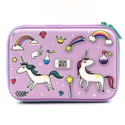 (SOOCUTE Purple Rainbow Unicorns Girls Big Hardtop Pencil Case with Compartment - Cute School Stationery Supply Organizer Box Pen Holder for Kids Children Toddlers)