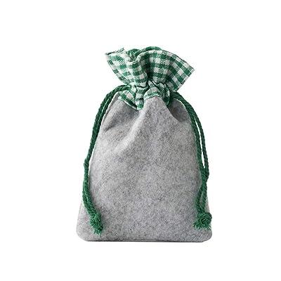10 bolsitas de fieltro con borde de algodón, tamaño 30x20 cm, bolsas de fieltro para regalos, decoración para Oktoberfest, materiales naturales (gris claro con borde verde y blanco a cuadros): Juguetes y juegos