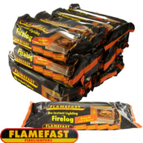FLAMEFAST INSTANT-LIGHT SMOKELESS FIRE LOG BURNS FOR 2-3 HOURS (CASE 12) by Flamefast Flamefast Firelogs