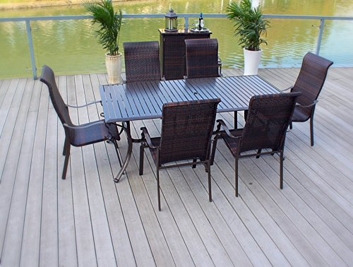 Pebble Lane Living All Weather Rust Proof Indoor/Outdoor Premium 7 Piece Cast Aluminum Patio Dining Set, 1 Slat Top Dining Table with Umbrella Hole & 6 Wicker Dining Chairs, Brown